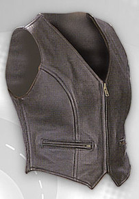 WOMEN'S BLACK ZIP SIDECOMFORT LEATHER MOTORCYCLE VEST