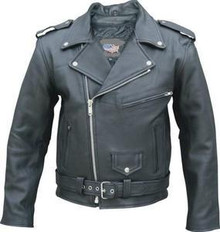 "MENS BLACK TALL PREMIUM BUFFALO MOTORCYCLE JACKET 40-56"" CHESTS"
