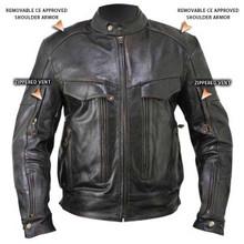 Armored Bandit Retro Brown Buffalo Leather Cruiser Motorcycle Jacket
