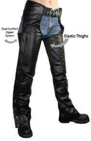 Comfort Womens Leather black Motorcycle biker Braided Chaps