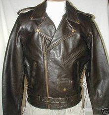 Bigfoot Classic Retro Brown Premium Leather Motorcycle Biker Jacket
