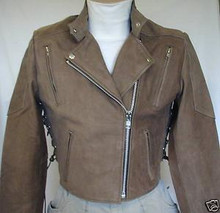 A Brown Buckskin Premium Leather Womens vented Motorcycle Waist Length Jacket