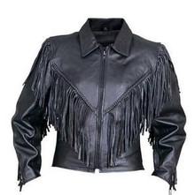 Womens Motorcycle Leather Jacket with Fringe, Braid, Side Lace