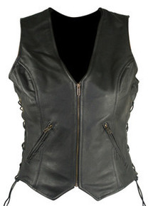 WOMEN'S ZIP FRONT BLACK LEATHER MOTORCYCLE VEST BFT277