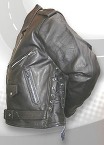 "MENS ""BIG JOE"" SIDE LACE  BLACK LEATHER MOTORCYCLE JACKET"