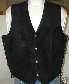 Black Suede Leather Motorcycle biker Vest Closeout!