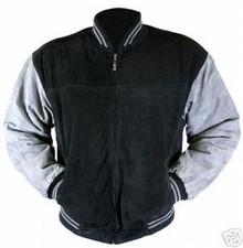 Suede Black & Gray Leather Baseball Jacket