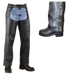 Black Motorcycle Biker Leather Mens Womens Heavy Cowhide Lined Chaps