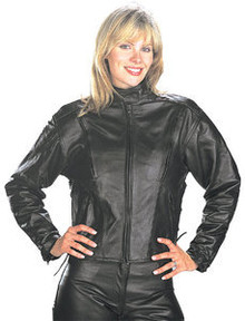 ladie's/Women's Black Leather Vented Speedster Motorcycle Jacket CLOSEOUT PRICED