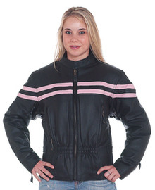 Ladies / Womens Pink and Black Vented Motorcycle Biker Leather Jacket
