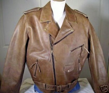 Distressed Tan Mens Leather Cowhide Traditional Motorcycle Biker Jacket CLOSEOUT