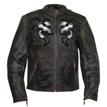 Brown Dual Skull Embroidered Dark PREMIUM  LEATHER BIKER MOTORCYCLE JACKET CLOSEOUT