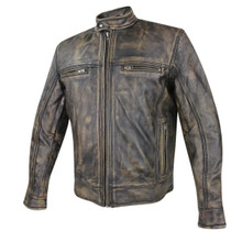 Men's Armored Distressed Leather Speedster Jacket