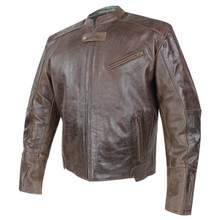 Armored Leather Distressed Brown Motorcycle Jacket with Gun Pocket, Mens Sentinel