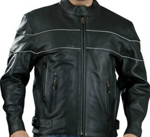 Black Premium Mens Naked Leather Cruiser Vented motorcycle biker Jacket W/ Reflective Stripe