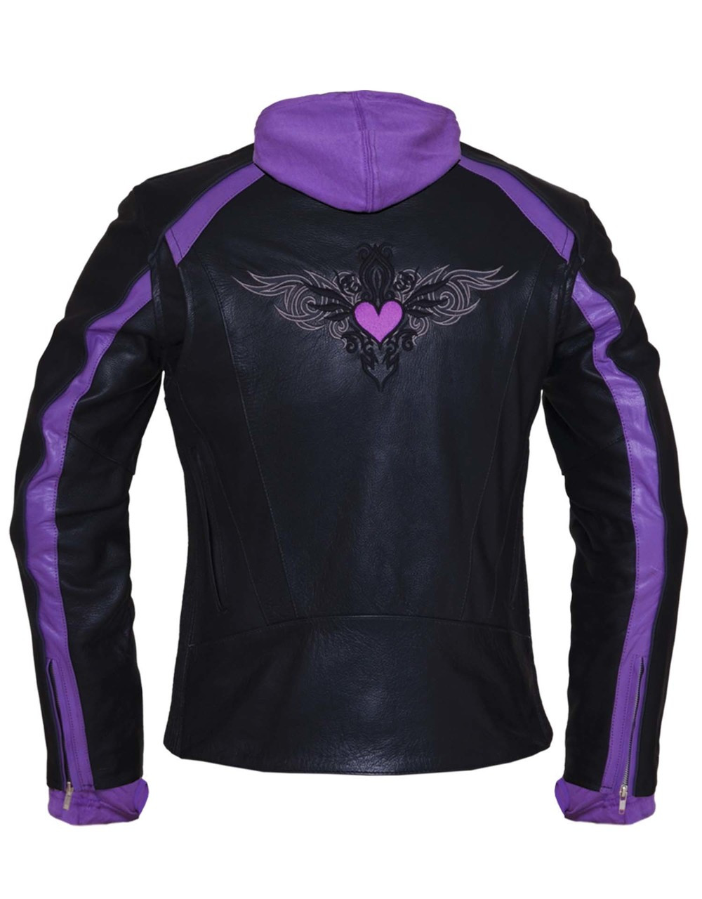 Black Amp Purple Or Pink Embroidered Leather Motorcycle