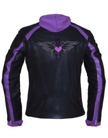 Black & Purple or Pink Embroidered Leather Motorcycle Biker Jacket Zip out Hoodie