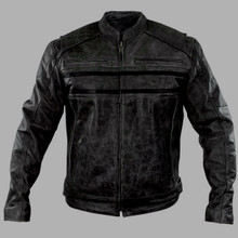 Men's Distressed Grey Leather Motorcycle Jacket by Xelement