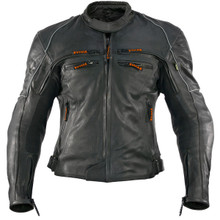 Armored Biker Black Vulcan VNE-98431 Premium Leather Motorcycle Jacket