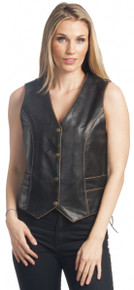 Women's Antique Brown Premium Leather Motorcycle Vest