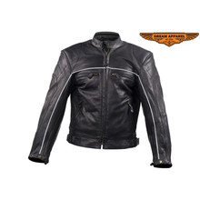 Men's Cowhide Reflective Vented Speedster Racer Biker Jacket