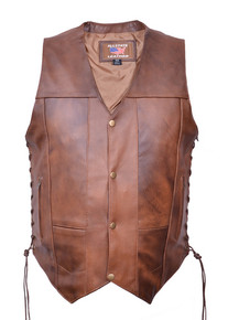 Brown 10 Pockets Vest in Premium Buffalo Leather (#1 Seller)