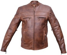 Brown Distressed Mens Leather Vented Biker Speedster Jacket