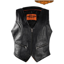 Women's Black Leather Vest With Gun Pockets