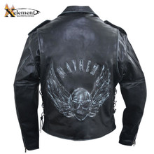 Men's Mayhem Premium Black Distressed-Leather Jacket with Embossed Flying Skull