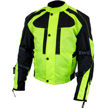Mens  Black/Neon Green  Tri-Tex Armored Motorcycle Jacket by Xelement
