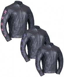 Embroidered Stars Premium Lightweight women's Vented Leather Biker Jacket