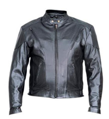 Men's Black Top Grain  Leather Vented Racer Style Motorcycle Jacket