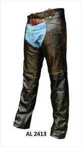 Brown Retro Premium Buffalo Leather Motorcycle Biker Chaps
