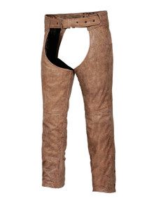 Brown Arizona Mens Leather Motorcycle Biker Chaps with Jeans Pocket