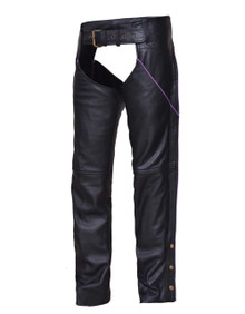 BLACK W/ PURPLE STRIPE WOMEN'S PREMIUM LEATHER MOTORCYCLE CHAPS RETAIL $200