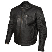 Men's Armored Black Leather Racing Jacket by Xelement