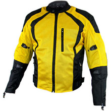 Men's Black/Yellow Mesh Tri-Tex Armored Motorcycle Jacket by Xelement