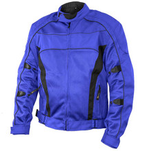 "'Conquest' Men's Blue/Black Tri-tex/Mesh Armored Motorcycle Jacket with Gun Pocket"" by Xelement"