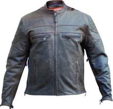 2A Mens Rustic Brown Leather Biker Vented Speedster Jacket