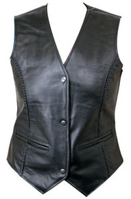 WOMENS BRAIDED 3 SNAP FRONT BLACK LEATHER MOTORCYCLE BIKER VEST