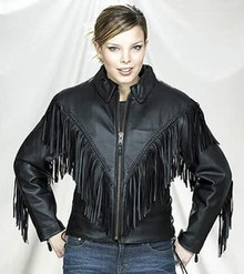 Black Fringed and Braided Womens Leather Motorcycle Biker Jacket