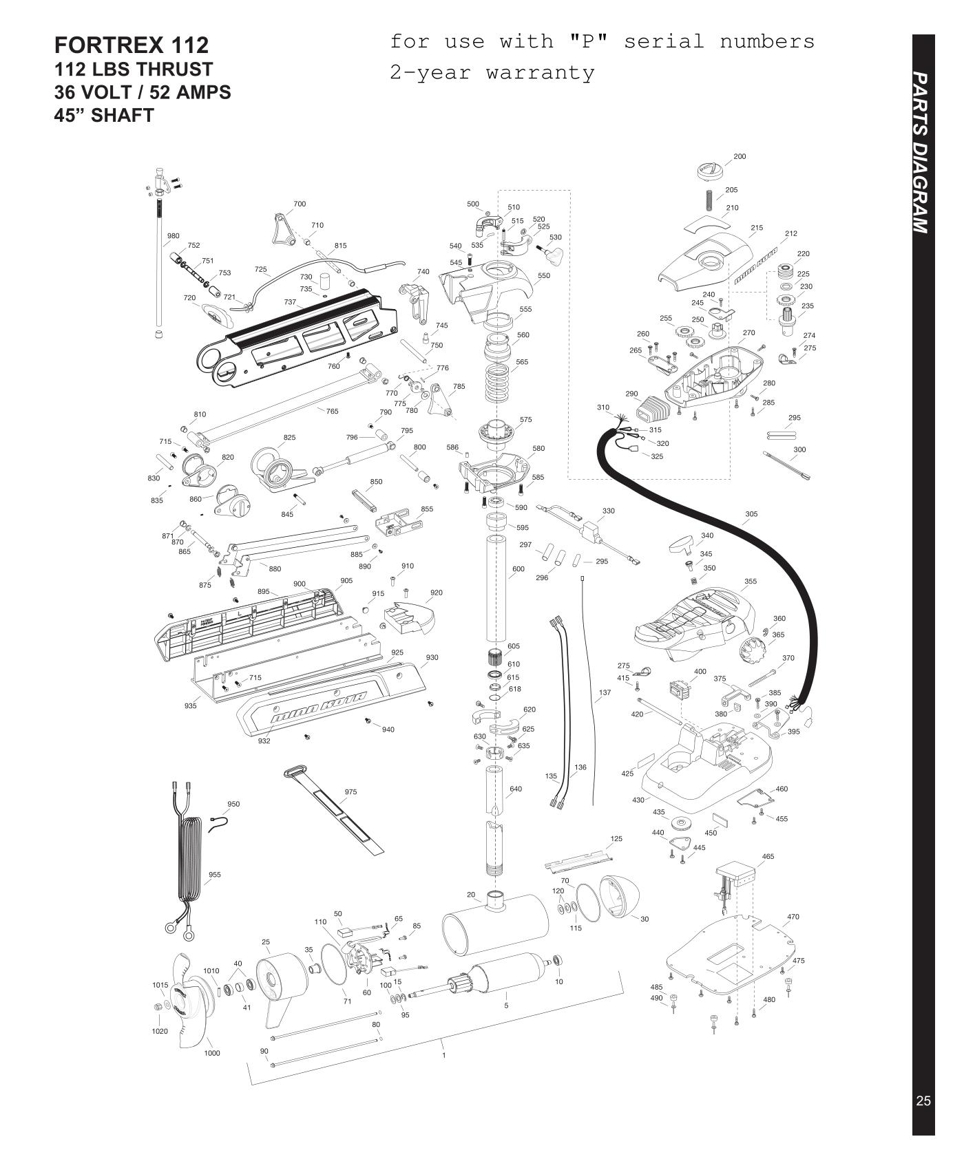 Minn Kota Fortrex 112  45 Inch  Parts