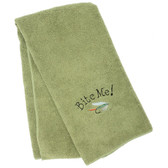 Embroidered Bite Me! Towel - Green