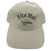 Embroidered Bite Me! Ball Cap / Hat - Beige - One Size Fits Most