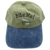 Embroidered Bite Me! Ball Cap / Hat - Green With Blue Bill - One Size Fits Most