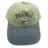 Embroidered Bite Me! Ball Cap / Hat - Green With Gray Bill - One Size Fits Most