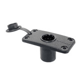 Scotty 244 Flush Deck Mount White With Rain Cap - Black