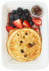 Protein Pancakes with Uncured turkey bacon, Organic fruit and maple syrup