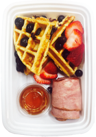 Protein Waffles Breakfast w/ Uncured Turkey Bacon and Organic Fruits and Maple syrup