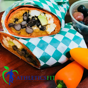 Healthy sweet potato & black beans breakfast burrito
